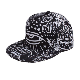 Men Women Unisex Bboy Adjustable Snapback Baseball Hat Hip Hop Cap (Black) (Intl)