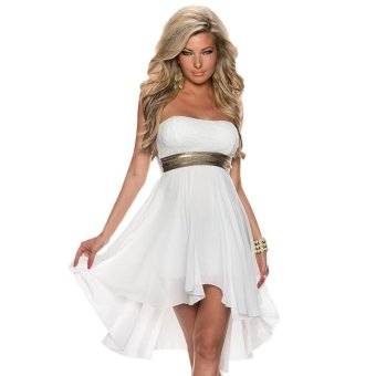 Sexy Strapless Lace Chiffon Sleeveless Women's Dress (White) TC - intl
