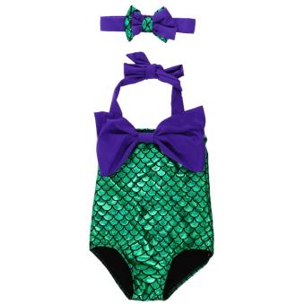 Mermaid Princess Bikini Swim Bathing (Purple+Green) - intl