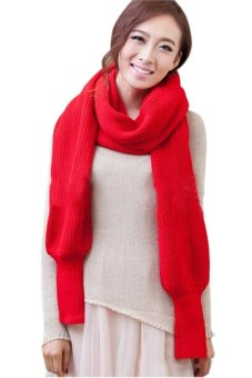 Lalang Wool Knitted Shawl Red - Intl