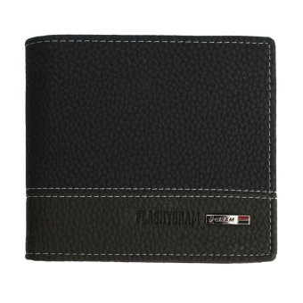 Leather Bifold Money Wallet Coin Purse Clutch Pockets Blue - Intl