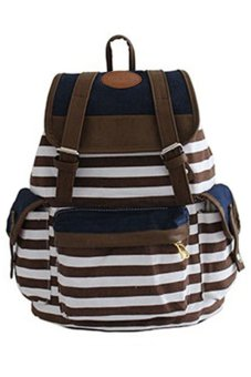 Bluelans Women Unisex Canvas Leisure Bag School Bookbag Travel Backpack Brown (Intl)