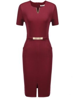 Mua Sunweb Women Business Metal Decorations Front Split Elastic Slim Dress with Pockets ( Wine red ) - intl giá tốt nhất