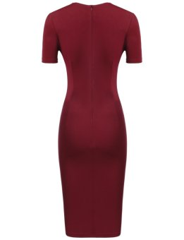 Sunweb Women Business Metal Decorations Front Split Elastic Slim Dress with Pockets ( Wine red ) - intl