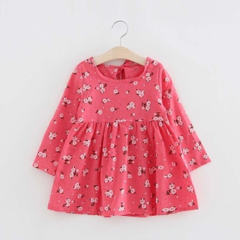 Toddler Baby Girls Kids Autumn Clothes Long Sleeve Princess Party Pageant Dress Pink - intl