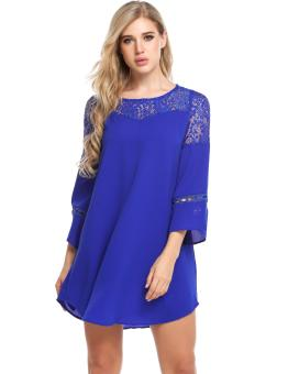 Linemart Women Casual O-Neck Long Flare Sleeve Lace Patchwork Chiffon Hollow Out Dress ( Blue ) - intl