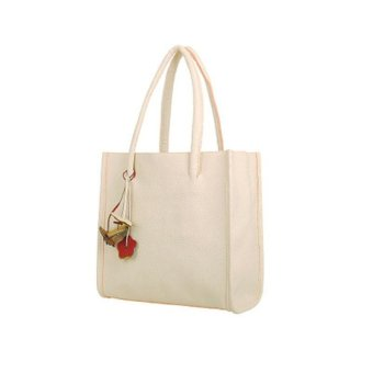 Fashion girls handbags leather shoulder bag candy color flowers totes White - intl