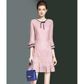 Đầm Ren Phối Bèo Maika (M,L,XL,XXL) - K57 - ( Hồng ) Bui Nguyen