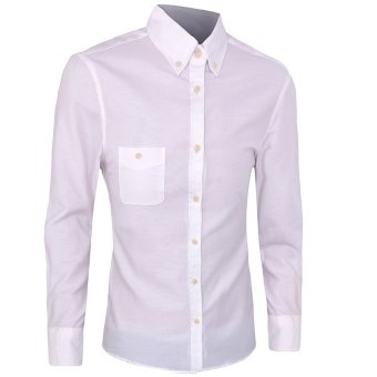 Arrival Shirt Men Work Shirt Casual Shirt Long Sleeve Fashion Slim Shirts Mens Clothes(white) - intl
