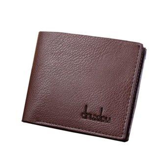 Mens PU Leather Wallet Pocket Credit Card Clutch Bifold Purse Brown