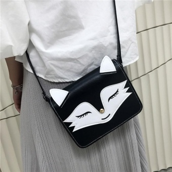 Women Leather Handbag Animal Fox Printing Shoulder Bags BK - intl