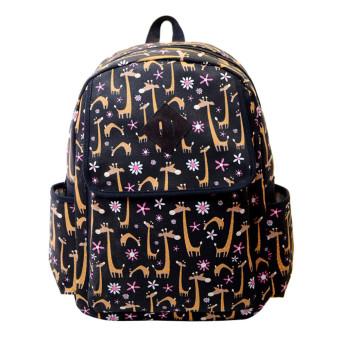 Fashion Women Canvas Backpacks Lovely Printing Schoolbag Black - Intl