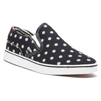 Bellfield Men's Slip On Sneaker With Polka Dot Print Black