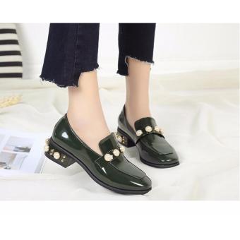 Giày loafer đính hạt châu S188 (Xanh Lá)