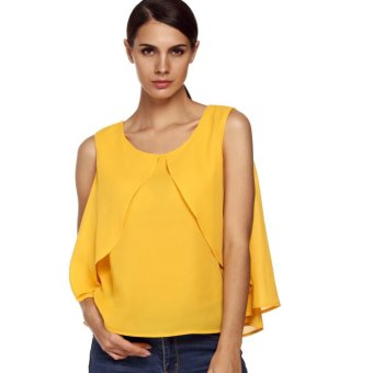 Cyber FINEJO Stylish Ladies O-Neck Sleeveless Two-Layer Solid Loose Casual Chiffon Tank Top (Yellow) - Intl