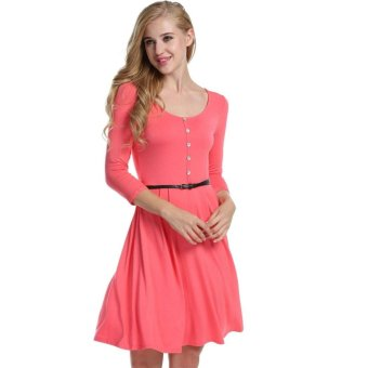 Linemart Women Fashion Casual Round Neck 3/4 Sleeve High Waist Solid A-Line Short Dress with Belt ( Watermelon Red ) - intl