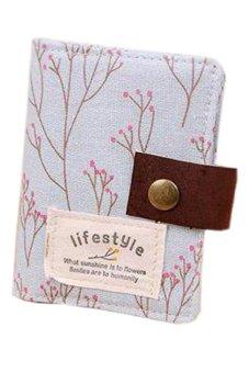 Bluelans Slot Floral Credit ID Card Purse Holder Pouch Coin Bag Storage Blue (Intl)