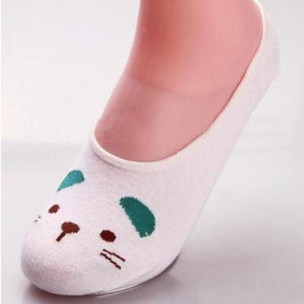 Moonar Fashion women cotton cute animal pattern boat socks (white cat) - intl