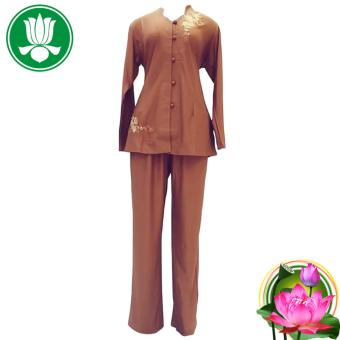 Bộ 2 áo 2 quần Phật tử nữ đi chùa An Huy Nghi (đà nâu) + Tặng 2 đôi dép nỉ đi trong nhà