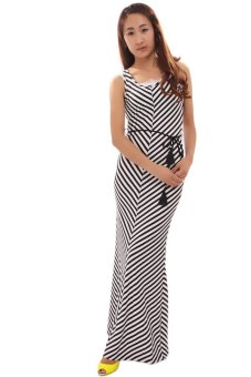 LALANG Fashion Stripes Dress (Black/White) - Intl