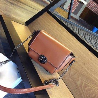 Fashion Women Shoulder Bag Chain Strap Messenger Bags Handbags Metal Buckle Brown - intl