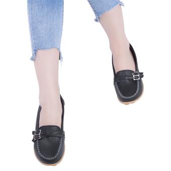 Slip On Skid Resistance Leather Breathable Flat Shoes(Black) - intl