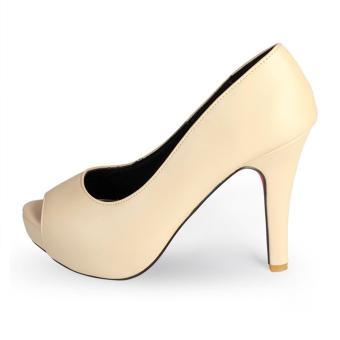 Giày Nữ Gót Nhọn 11cm Đế Đúp Hở Mũi HC1341 (Kem).