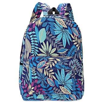 Plant Print Canvas Zipper Portable Backpack Vertical(Blue) - intl
