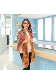 Moonar Women Fashion Grid Scarf shawl (Orange) - Intl