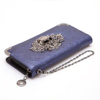 LALANG PU Leather Punk Zipper Skull Wallet Purse Card Holdert Blue - intl
