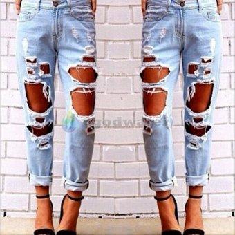 Women Hole Destroyed Ripped Distressed Slim Denim Pants Boyfriend Jeans Trousers - intl