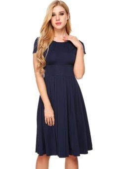 Cyber Women Vintage Styles O-Neck Short Sleeve Solid Elastic A-Line Pleated Hem Dress ( Navy Blue ) - intl