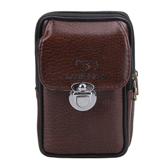 New Fashion Men PU Leather Phone Waist Bag Vertical Zipper Vintage Waist Ba - intl