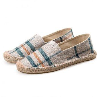 Cotton Hemp Weave A Pedal Lazy Shoes Straw Shoes Couple Models - intl