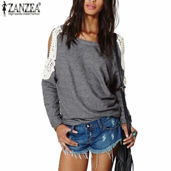 Womens Lace Crochet Splice Off Shoulder Long Sleeve Round Neck Blouse Gray (Intl) - intl