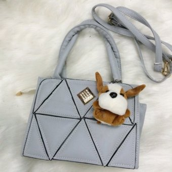 Túi xách vá tam giác tặng kèm gấu (Xám)