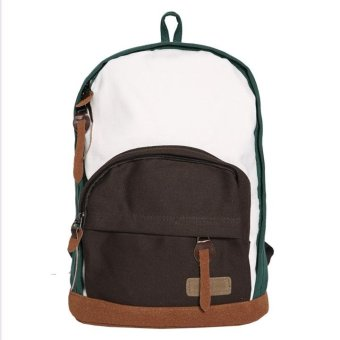 Linemart New Women Colorful Classic Canvas Backpack Bookbag School Bag Rucksack Shoulder Bag ( Green+Coffee ) - intl