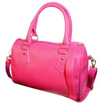 Sexy Women PU Leather Handbag Shoulder Tote Purse Massenger Bag Rose Red - intl