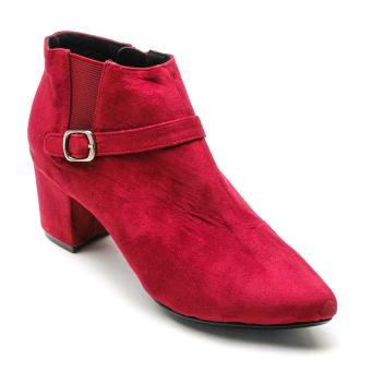 Giày bốt gót vuông mũi nhọn da lộn Mozy MZB30.3(Đỏ)