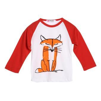 Toddler Kids Baby Boys Girls Fox Print T-shirt Long Sleeve Tops Clothes(Red) - intl