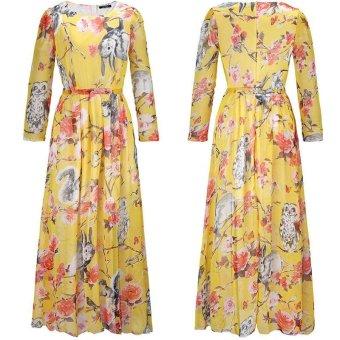 New Women Chiffon Maxi Plus Size Dress Owl Floral Print Long Sleeves Vintage High Waist Party Long Dress - intl