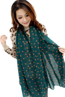 Women Lady Dots Spot Chiffon Soft Shawl Scarf Neck Wrap Headscarf(Dark green) - Intl