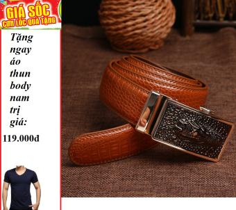 Thắt lưng vân cá sấu da bò thậtsiêu bền ( Vàng bò ) + Tặng 1 áo thun body nam