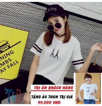 Áo Thun Nữ In Hình People Cá Tính D378 Trần Doanh ( Màu Trắng ) + Tặng Áo Thun In Hình T&D Cao Cấp