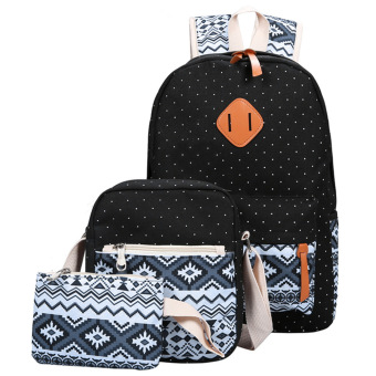 3pcs Handbag Backpack Shoulder Crossbody Bag Wallet Coin Purse(Black) - intl