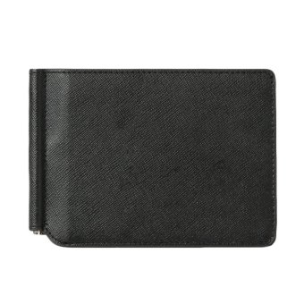 Baggra Men Wallet Money Clip PU Leather Card Holder Case Business Wallet 2 Folds Cash Clip Black - intl
