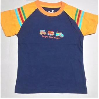 Áo phông bé trai 4-5 tuổi 3 ô tô màu xanh tím than cánh tay cam