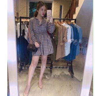 Đầm Xòe Cột Dây Siêu Xinh ( Xám )
