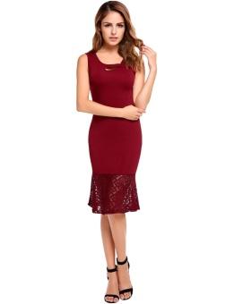 Cyber Women Vintage Styles Elastic Lace Patchwork Tank Mermaid Dress ( Red ) - intl