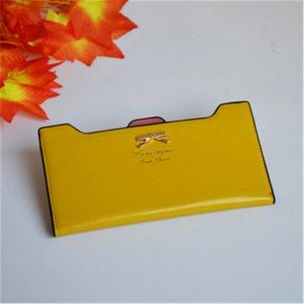 Teamtop OEM Leather Long Wallet Purse Bowknot Zip 19.7x10.5x1cm - intl